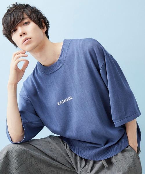 MONO-MART×KANGOL 別注 センター筆記ロゴ刺繍 5分袖ビッグシルエットサマーニット