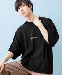 MONO-MART×KANGOL 別注 センター筆記ロゴ刺繍 5分袖ビッグシルエットサマーニットブラック