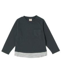 petit main(プティマイン)の裾ボーダー胸ポケット付き長袖Tシャツ(Tシャツ/カットソー)