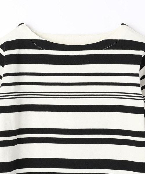 マルチボーダー柄8分袖Tシャツ