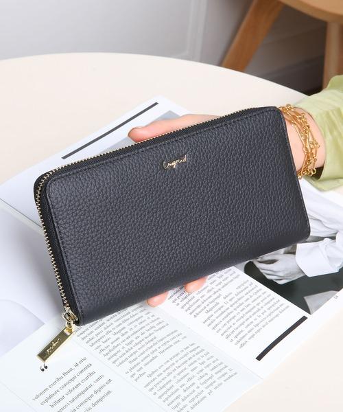 Ungrid(アングリッド)の「【Ungrid/アングリッド】 【牛革】  牛革ラウンドZIP長財布(財布)」|ブラック