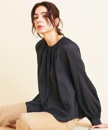 BY∴ シャーリングギャザーシャツ -ウォッシャブル- ◆
