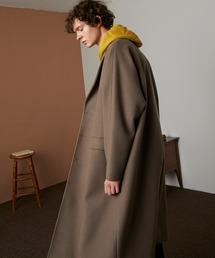 ビーバーメルトン オーバーサイズ ラグランルーズスリーブ ロングセミダブルチェスターコート EMMA CLOTHES 2021 WINTERベージュ