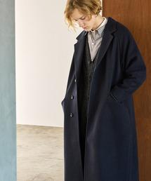 ビーバーメルトン オーバーサイズ ラグランルーズスリーブ ロングセミダブルチェスターコート EMMA CLOTHES 2021 WINTERダークネイビー