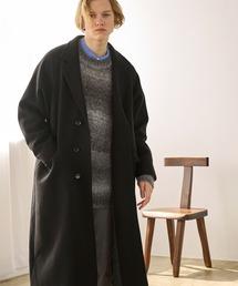ビーバーメルトン オーバーサイズ ラグランルーズスリーブ ロングセミダブルチェスターコート EMMA CLOTHES 2021 WINTERブラック