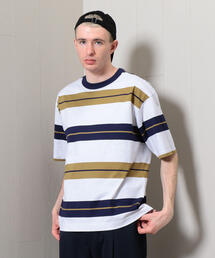 <H>BORDER CREW NECK SHORT SLEEVE PULLOVER/プルオーバー
