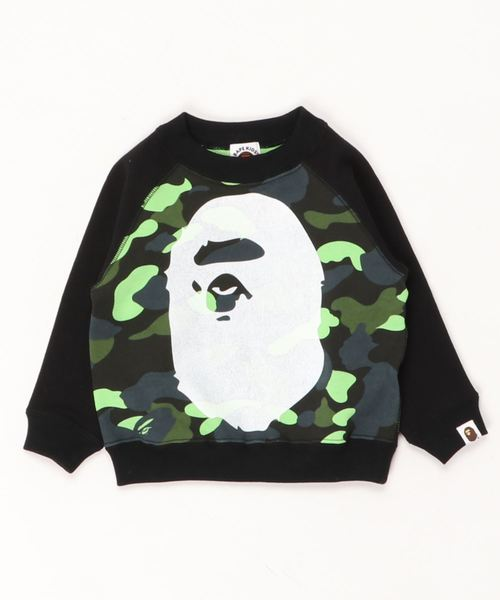 1ST CAMO NEON BIG APE HEAD CREWNECK K