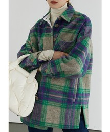【Fano Studios】【2021AW】Shadow check oversized shirt jacket FD20W260グリーン系その他