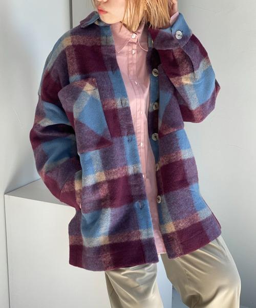 【Fano Studios】【2021AW】Shadow check oversized shirt jacket FD20W260