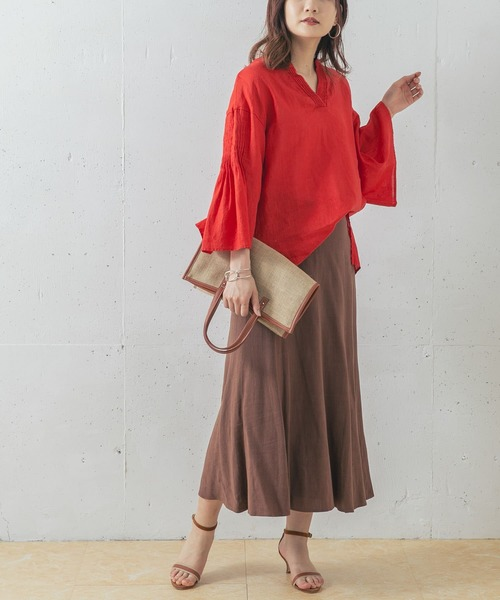 [URBAN RESEARCH ROSSO WOMEN] 【WEB限定】リネンピンタックブラウス