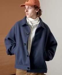 ビーバーメルトン オーバーサイズ ルーズスリーブ ダルマブルゾン EMMA CLOTHES 2021 WINTERダークブルー