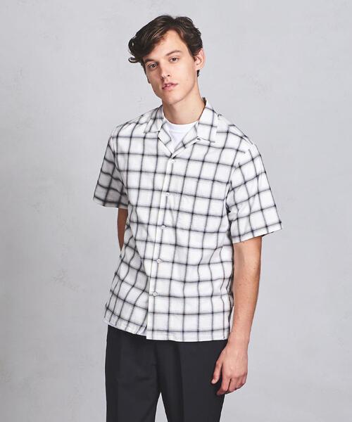 UAST チェック オープンカラー シャツ ◆