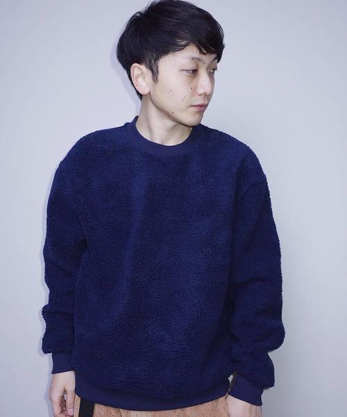【Bling Leads】ボアクルーネックニットセーター