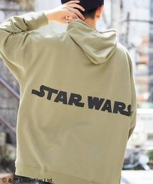 WEB限定 STAR WARS/スター・ウォーズ 別注 バッグロゴプリント オーバーサイズ プルオーバー パーカーベージュ