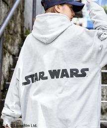 WEB限定 STAR WARS/スター・ウォーズ 別注 バッグロゴプリント オーバーサイズ プルオーバー パーカー杢グレー