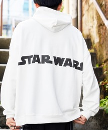 WEB限定 STAR WARS/スター・ウォーズ 別注 バッグロゴプリント オーバーサイズ プルオーバー パーカーホワイト