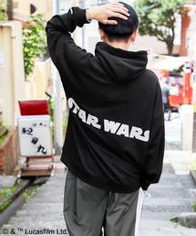 WEB限定 STAR WARS/スター・ウォーズ 別注 バッグロゴプリント オーバーサイズ プルオーバー パーカーブラック