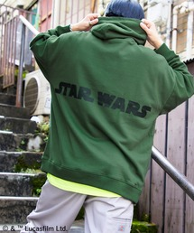 WEB限定 STAR WARS/スター・ウォーズ 別注 バッグロゴプリント オーバーサイズ プルオーバー パーカーダークグリーン