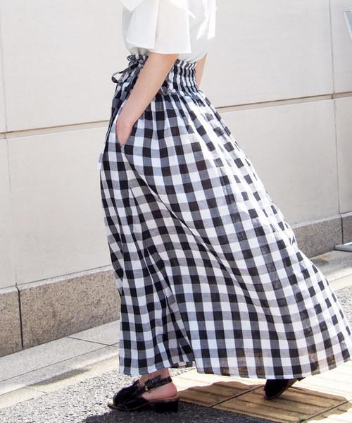 PICCIN(ピッチン)の「ダブルガーゼギンガムスカート(スカート)」|ブラック