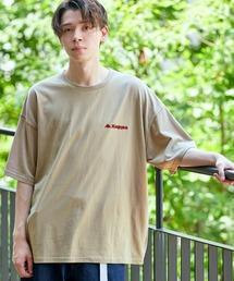 ▽WEB限定 Kappa/カッパ 別注 ビッグシルエット ロゴフロント&バックラバープリント半袖Tシャツベージュ