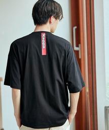 ▽WEB限定 Kappa/カッパ 別注 ビッグシルエット ロゴフロント&バックラバープリント半袖Tシャツブラック
