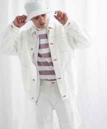 ビッグシルエット ユーティリティ ステッチデニムカバーオール EMMA CLOTHES 2021 S/Sホワイト