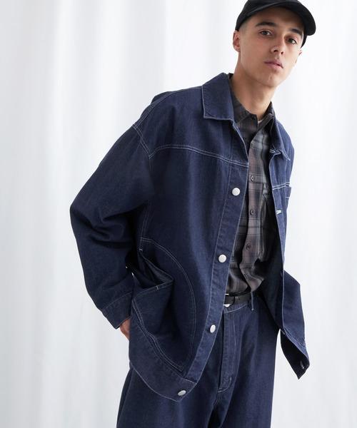 ビッグシルエット ユーティリティ ステッチデニムカバーオール EMMA CLOTHES 2021 SPRING (セットアップ対応)