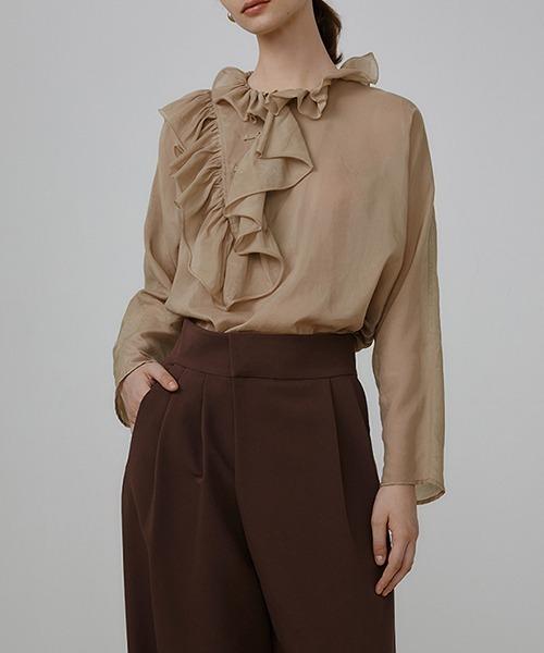 【UNSPOKEN】Asymmetrical ruffled blouse UQ21S072