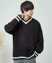 MONO-MART(モノマート)のオーバーサイズヘビーウェイトVネックチルデンニットセーター 2019SS(ニット/セーター)