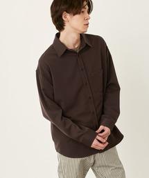 オーバーサイズTRストレッチレギュラーカラーシャツ L/S(MONO-MART)2021SPRINGダークブラウン