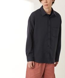 オーバーサイズTRストレッチレギュラーカラーシャツ L/S(MONO-MART)2021SPRINGネイビー