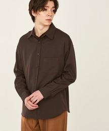 オーバーサイズTRストレッチレギュラーカラーシャツ L/S(MONO-MART)2021SPRINGブラウン