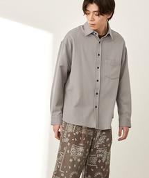 オーバーサイズTRストレッチレギュラーカラーシャツ L/S(MONO-MART)2021SPRINGグレー