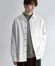 オーバーサイズTRストレッチレギュラーカラーシャツ L/S(MONO-MART)2021SPRINGオフホワイト