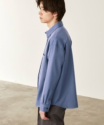 オーバーサイズTRストレッチレギュラーカラーシャツ L/S(MONO-MART)2021SPRINGサックスブルー