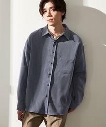オーバーサイズTRストレッチレギュラーカラーシャツ L/S(MONO-MART)2021SPRINGインディゴブルー