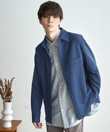 オーバーサイズTRストレッチレギュラーカラーシャツ L/Sブルー