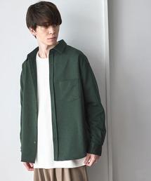 オーバーサイズTRストレッチレギュラーカラーシャツ L/Sグリーン