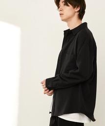 オーバーサイズTRストレッチレギュラーカラーシャツ L/S(MONO-MART)2021SPRINGブラック