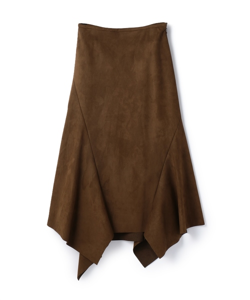 ESTNATION(エストネーション)の「ESTNATION / スエードランダムヘムスカート(スカート)」|ブラウン