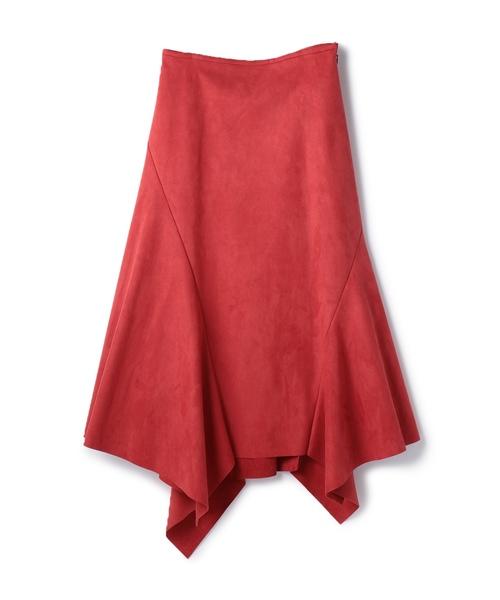 ESTNATION(エストネーション)の「ESTNATION / スエードランダムヘムスカート(スカート)」|ピンク