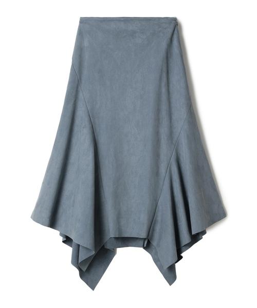 ESTNATION(エストネーション)の「ESTNATION / スエードランダムヘムスカート(スカート)」|ブルー