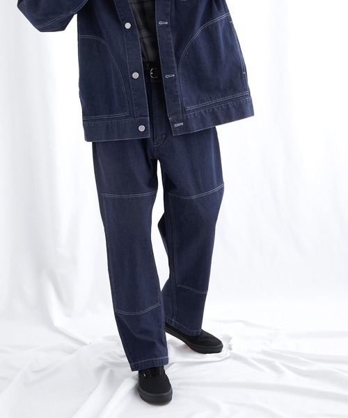 ユーティリティ ニーパッチステッチテーパードワイドバギーデニムパンツ EMMA CLOTHES (セットアップ対応)