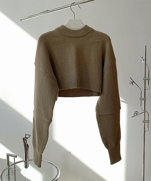 【chuclla】【2021/AW】Crew neck short knit chw21a053