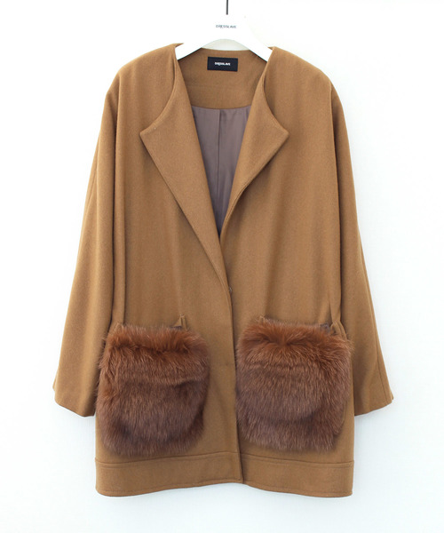 ー品販売  rita melton fox fur pocket CT(ポケットファーノーカラーコート), UIHOUSE 901befc2