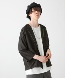 HARE(ハレ)のノーカラーZIPシャツ8分袖(HARE)(シャツ/ブラウス)