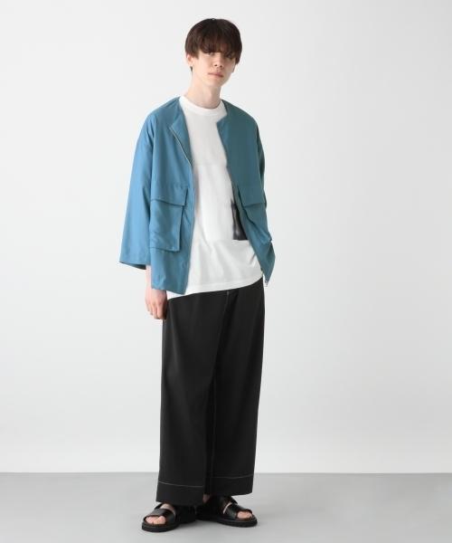 ノーカラーZIPシャツ8分袖(HARE)