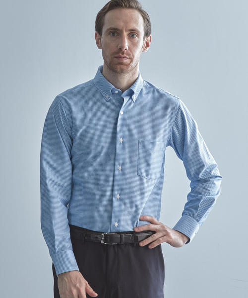 【WORK TRIP OUTFITS】ボタンダウンカラー ギンガムチェック トリコット シャツ <スーパースリムフィット>