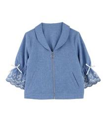 スカラップ刺繍袖ブルゾン(ブルゾン)