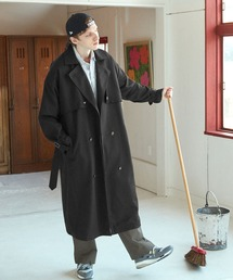 TRストレッチ オーバーサイズ ヨークトレンチコート/オーバーコート 2021-2022WINTER(EMMA CLOTHES)ブラック